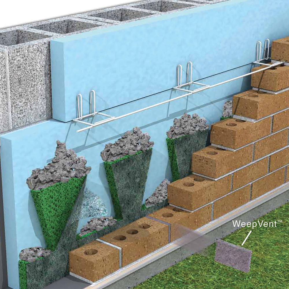 WallNet Drainage for Stucco, Stone, Brick, Siding - Mortar Net ...