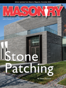 Masonry - the Voice of the Masonry Industry. Volume 51, November 11. Stone Patching by Steve Fechino