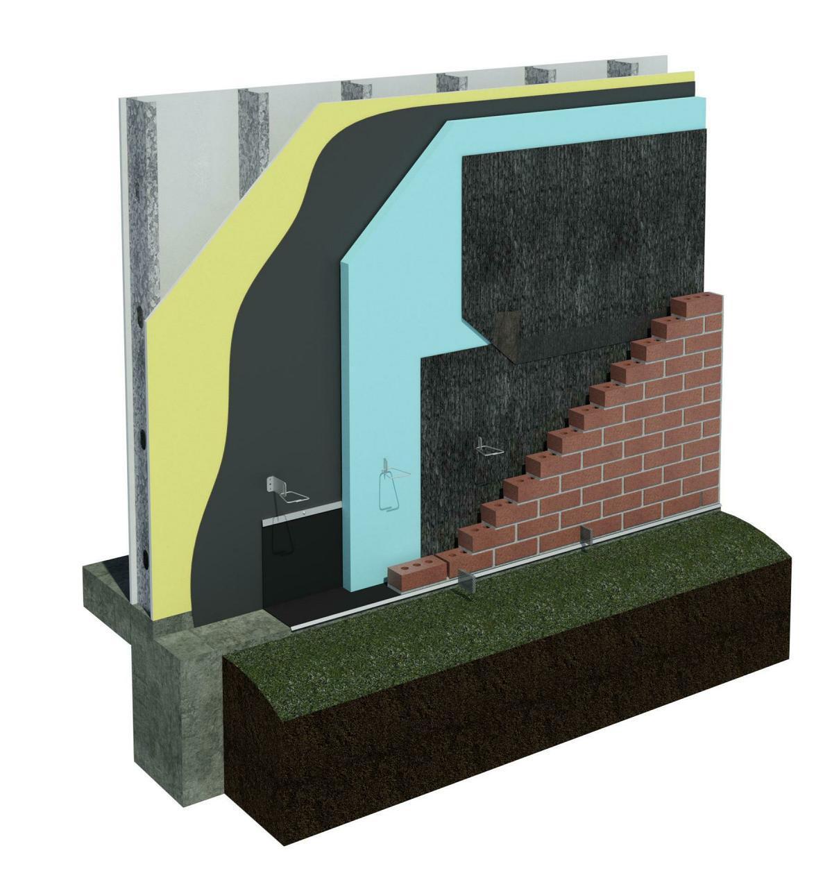 DriPlane metal stud wall with brick veneer