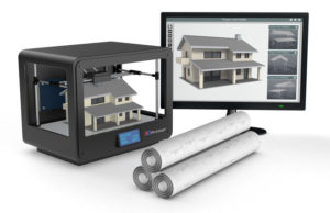 3D printer, 3D home, computer screen and blueprints, large-scale automated construction concept
