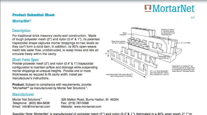 Submital720x400 Mortar Net Solutions Mortar Net Solutions