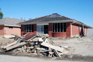 hurricane ravaged house