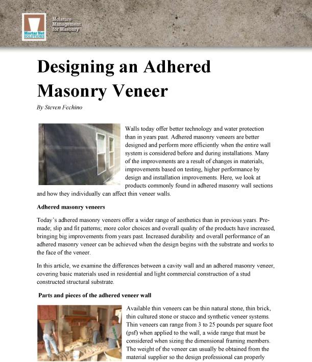 designing-adhered-masonry-veneer - Mortar Net Solutions Mortar Net