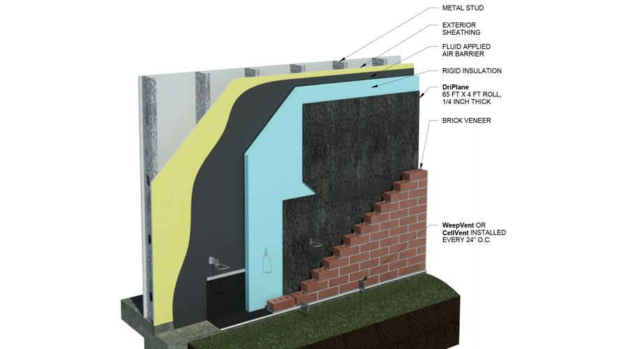 DriPlane - Metal Stud, Insulation, Brick Veneer