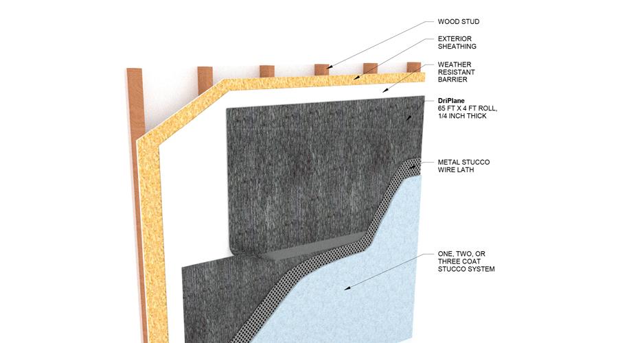 DriPlane - Wood Stud, No Insulation, Residential Stucco