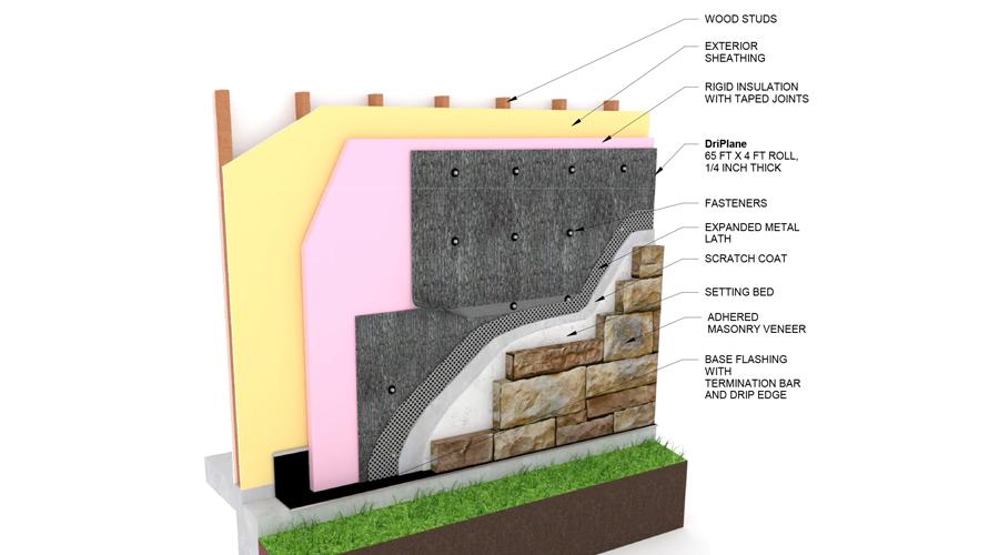 DriPlane - Wood Stud, Insulation, Adhered Stone